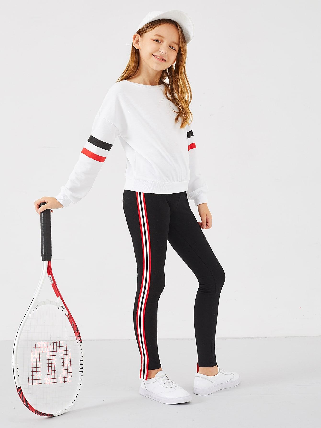 Контрастные брюки в полоску для девочек