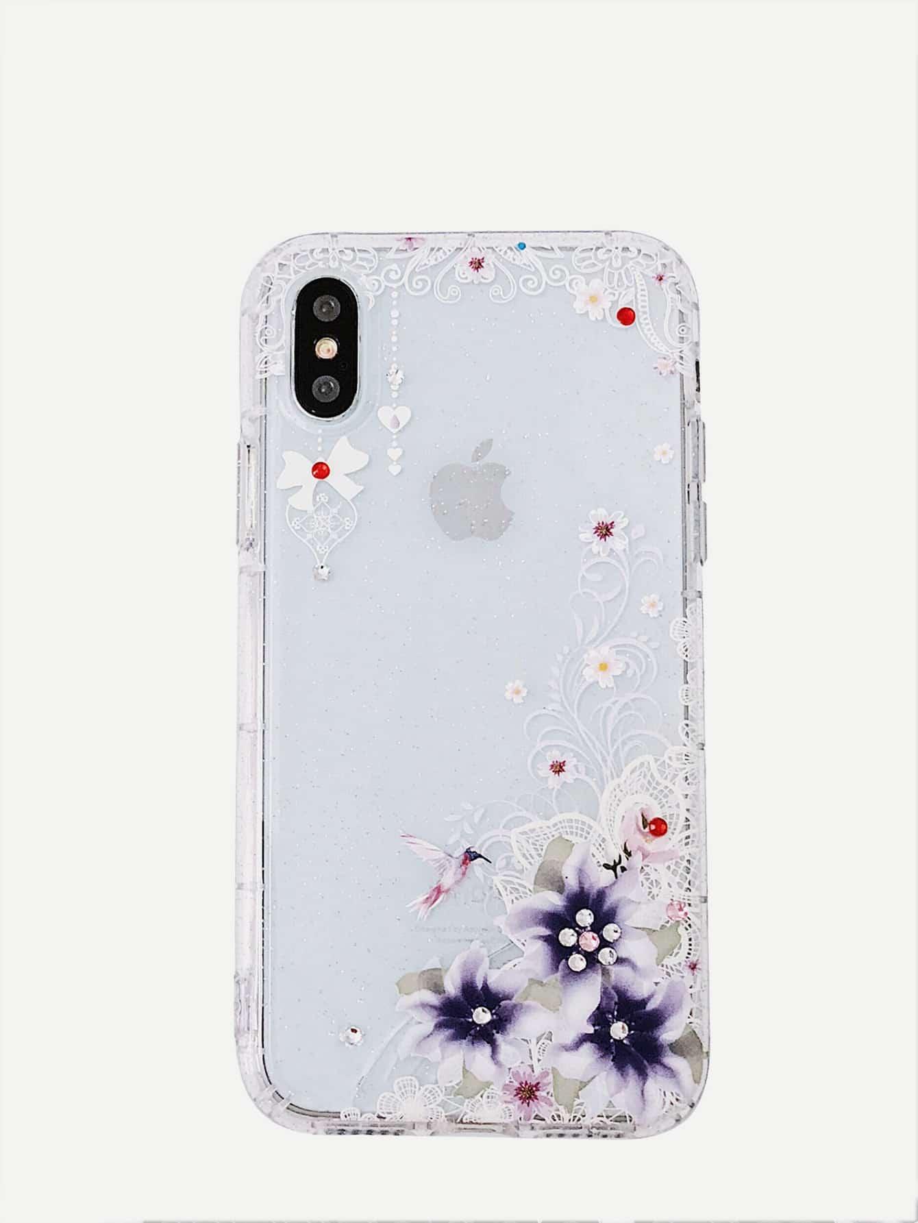 Купить Ситцевый корпус сотового телефона для iPhone с украшением бриллиантов, null, SheIn