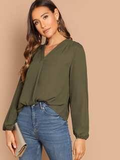 Gathered Shoulder Blouson Sleeve Top