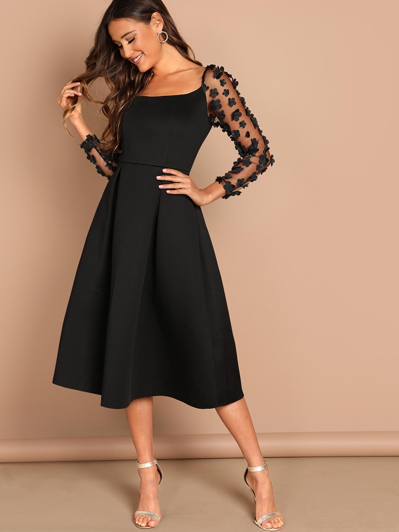 5bc702a030091b Applique & Mesh Sleeve Flared Dress | SHEIN