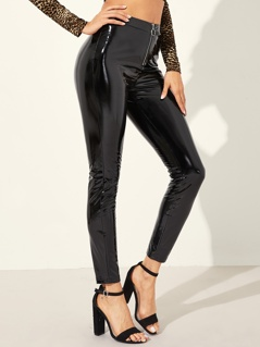 O-ring Zip Fly PU Skinny Pants