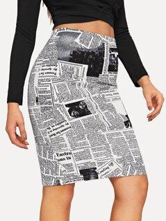 Newspaper Print Bodycon Skirt