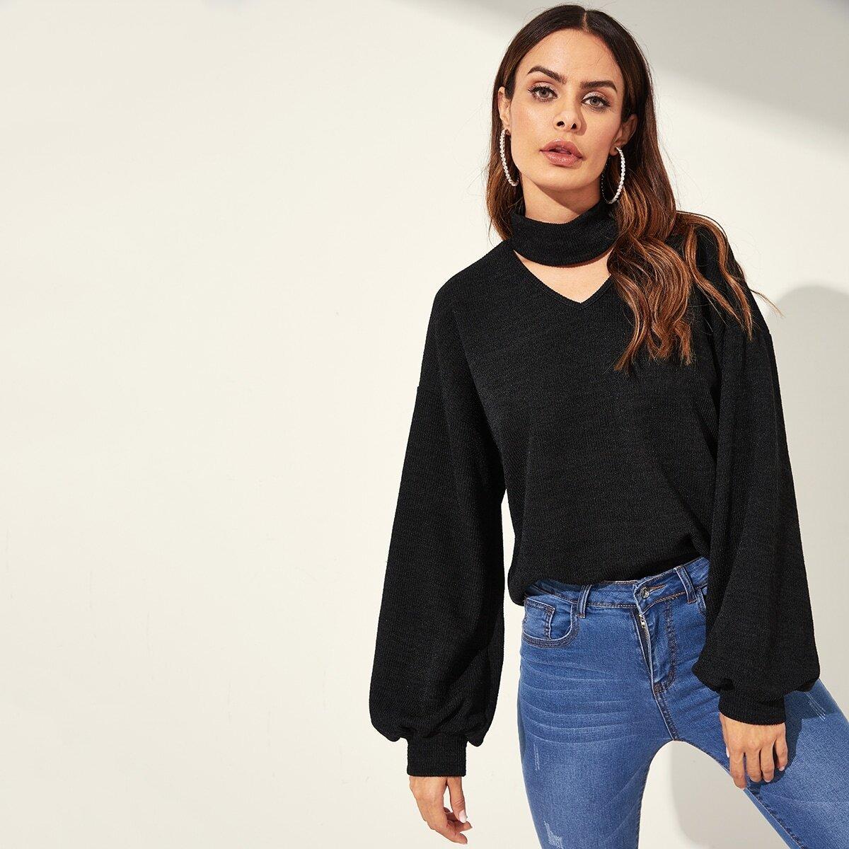Zwart Casual Vlak Sweater