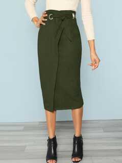 Zip Back Tie Waist Wrap Skirt