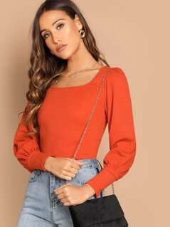 Scoop Neck Bishop Sleeve Top