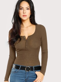 Scoop Neck Ribbed Henley Tee