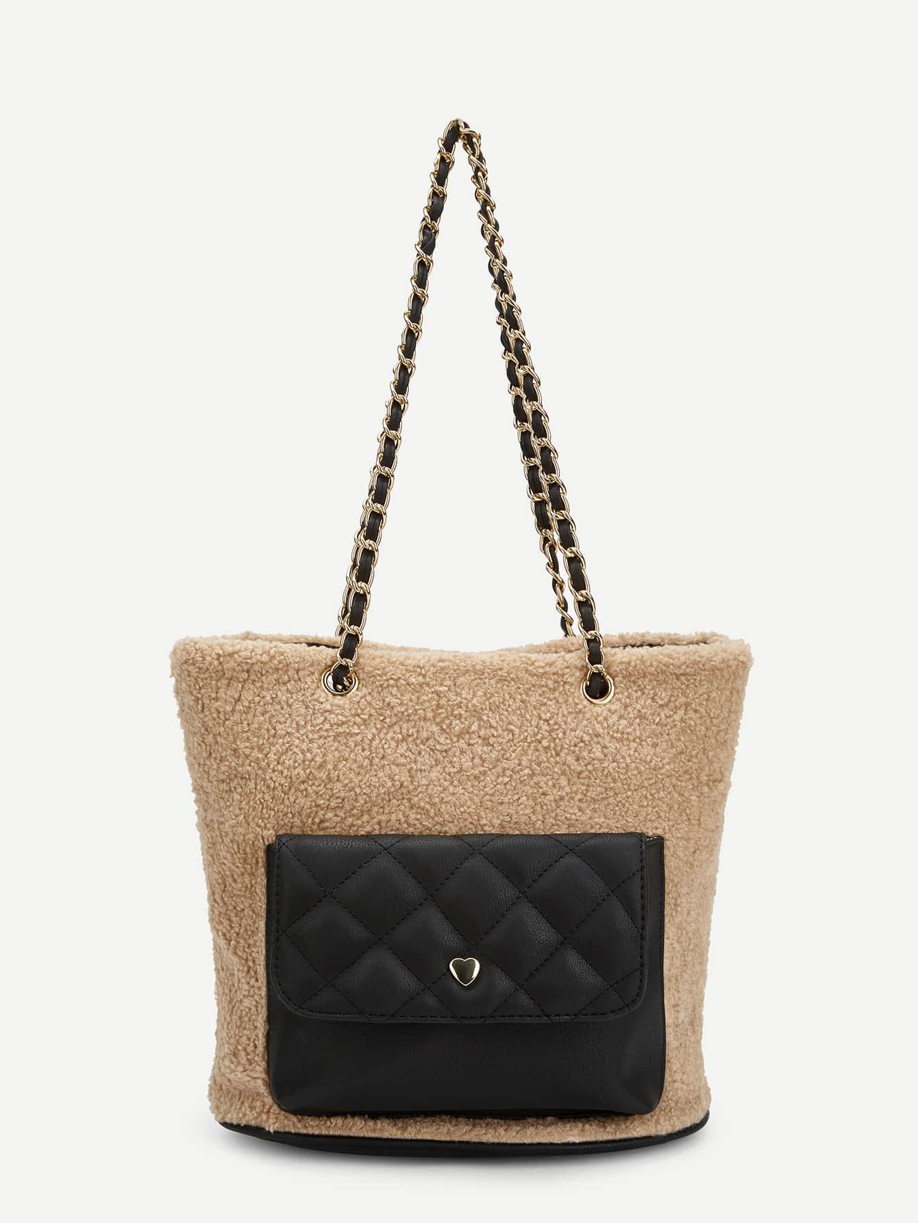 Купить Контрастная цепнач сумочка с искусственным мехом, null, SheIn