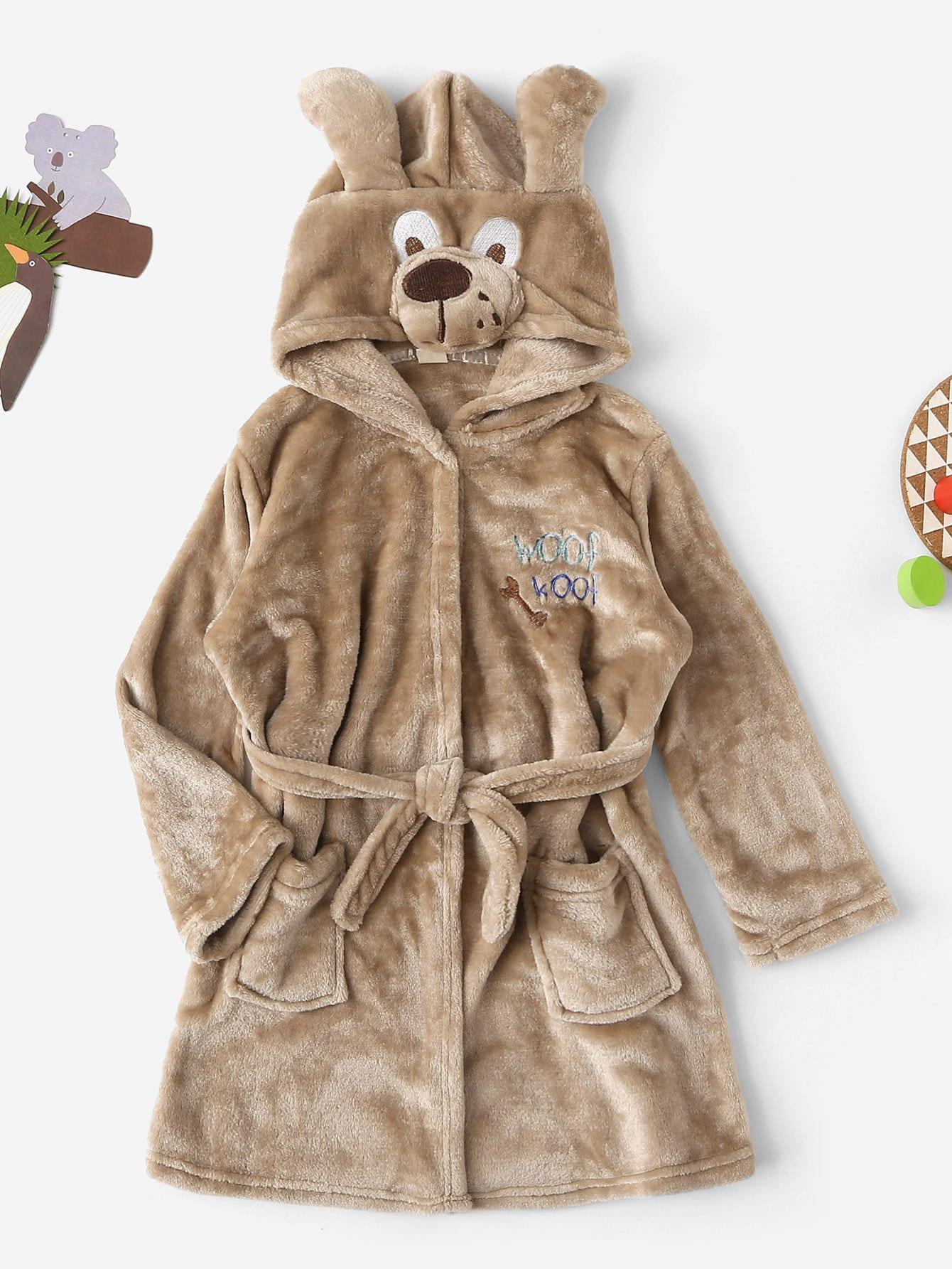 Пушистый домашний халат с капюшоном и принтом собаки для девочек от SheIn