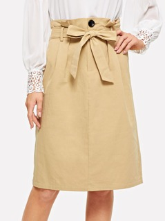 Waist Belted Button Skirt