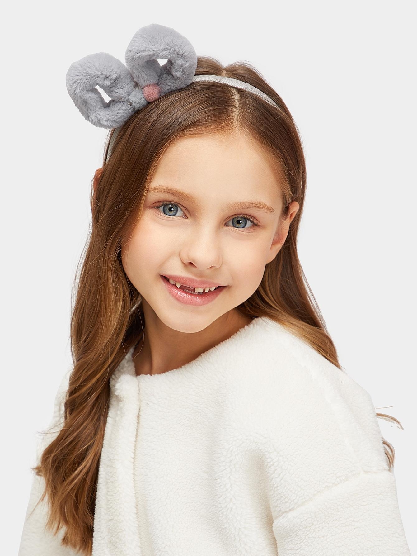 Купить Ободок для волос с украшением пушистого банта и помпона для девочек, null, SheIn