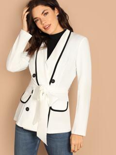 Contrast Binding Shawl Collar Blazer
