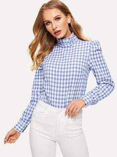 Frilled Neck Puff Sleeve Gingham Top