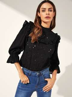 Keyhole Back Eyelet Embroidered Ruffle Trim Top
