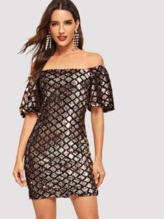 Off Shoulder Geo Sequin Bodycon Dress
