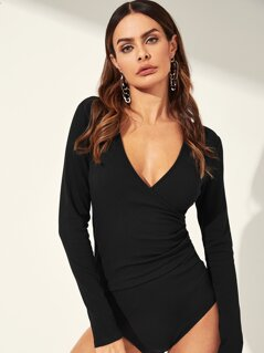 Surplice Neck Ruched Detail Ribbed Bodysuit