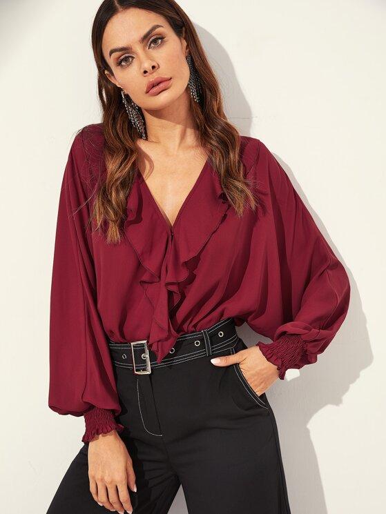 983ce7bfb3f4 Ruffle Trim Dolman Sleeve Wrap Blouse Bodysuit | MakeMeChic.COM