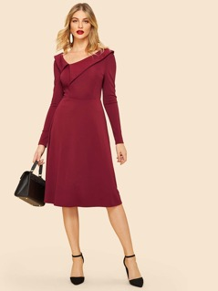 Asymmetrical Neck Fit And Flare Dress