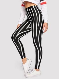 High Waist Striped Leggings