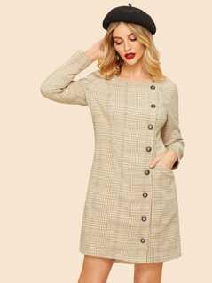 Pocket Front Button Up Plaid 50s Dress