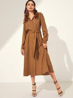 Contrast Stitch Pocket Patched Belted Shirt Dress