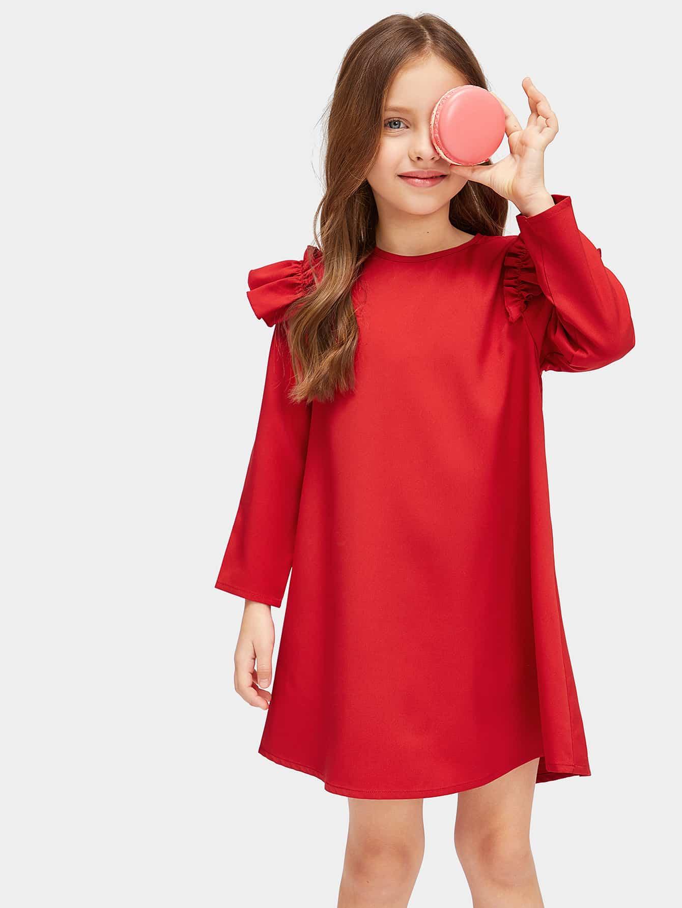 Купить Платье с оборкой на плече и вырезом сзади для девочек, Masha. P, SheIn