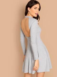Mock-Neck Backless Flowy Dress