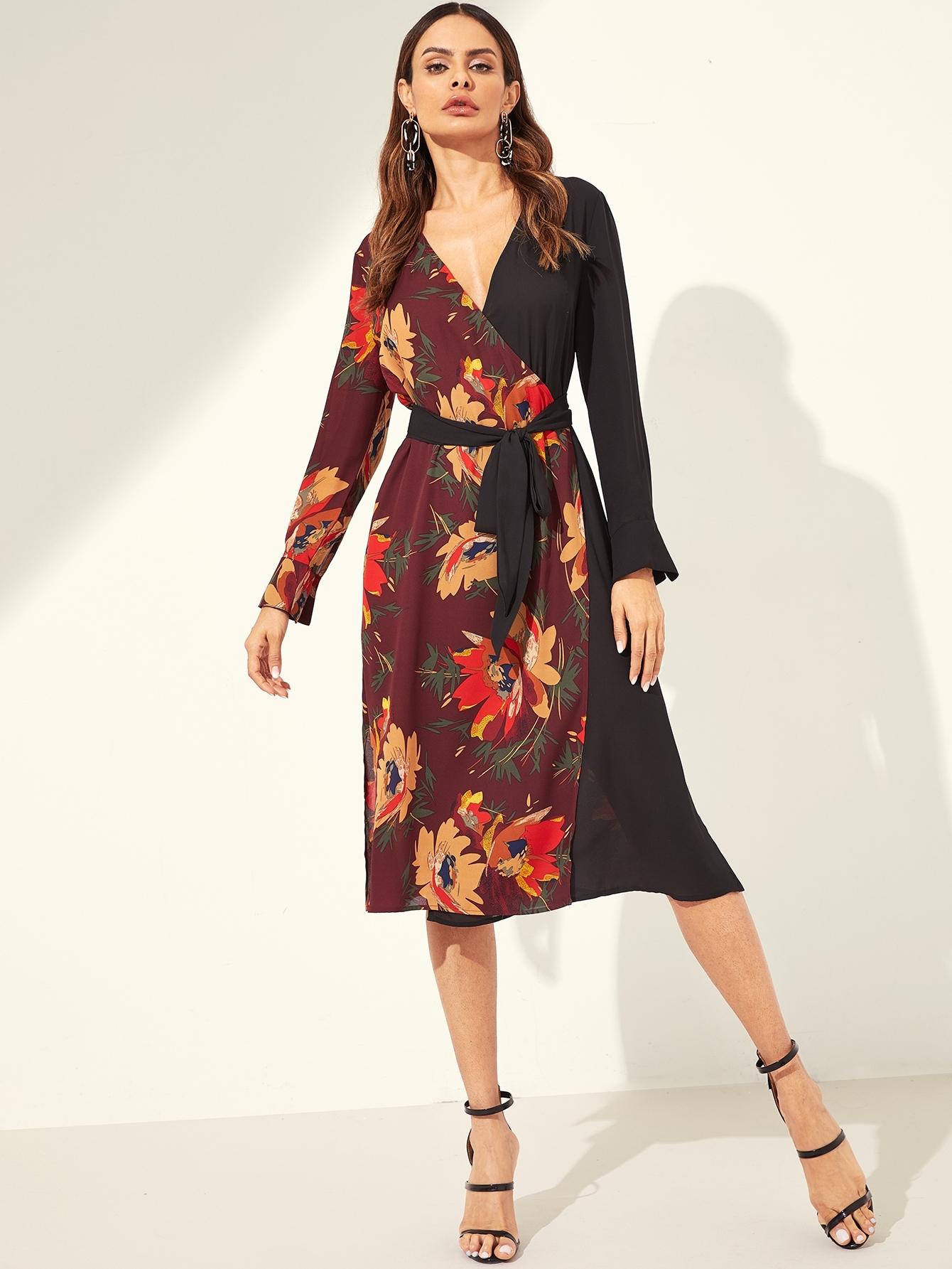 Купить Платье с цветочным принтом и поясом, Andy, SheIn