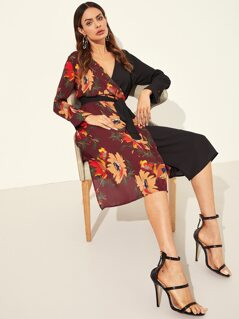 Two Tone Floral Belted Wrap Dress