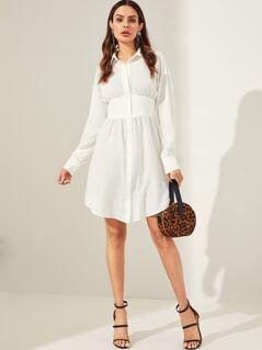 Elastic Waist Texture Shirt Dress