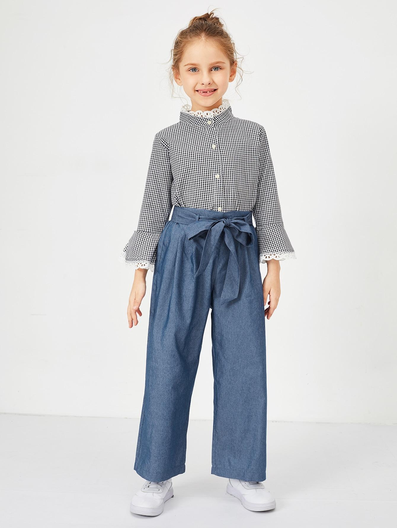 Купить Широкие джинсы с завязкой на талии для девочек, Anna C, SheIn