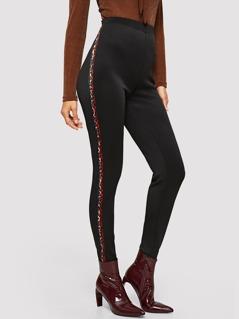 Contrast Leopard Tape Side Skinny Pants