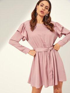Ruffle Trim Belted Flowy Dress