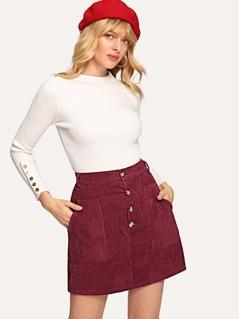 Button Front Pocket Detail Corduroy Skirt