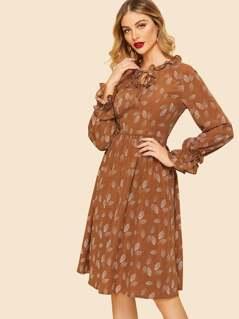 60s Tie Neck Ruffle Trim Fit & Flare 60s Dress