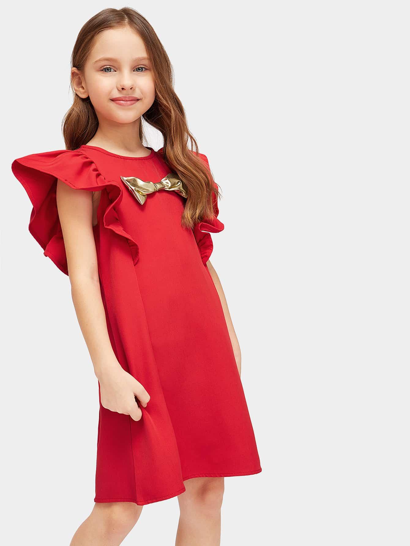 Купить Платье с бантом и оборкой на плече для девочек, Masha. P, SheIn