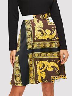 Retro Print A-line Skirt