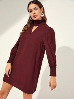 Cutout Smocked Neck and Cuff Tunic Dress