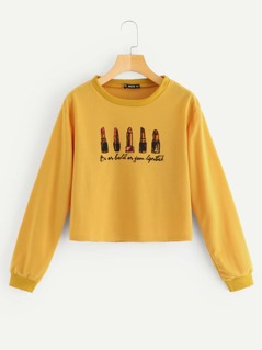 Lipstick And Letter Print Sweatshirt