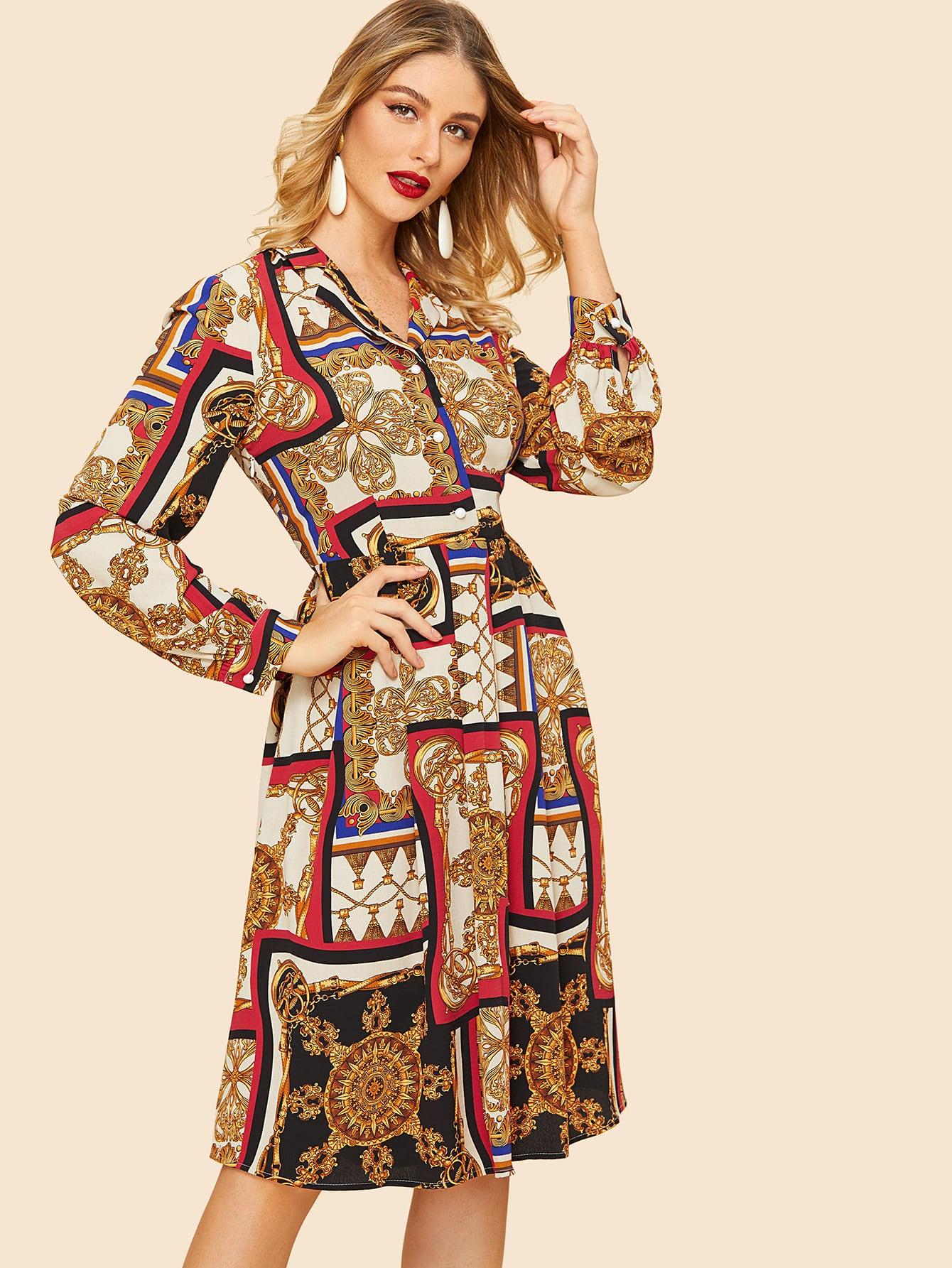 Купить Приталенное платье-рубашки с графическим принтом, Nathane, SheIn