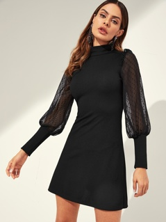 Mesh Sleeve Mock-neck Ribbed Knit Dress