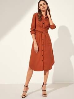 Knot Back Curved Hem Shirt Dress