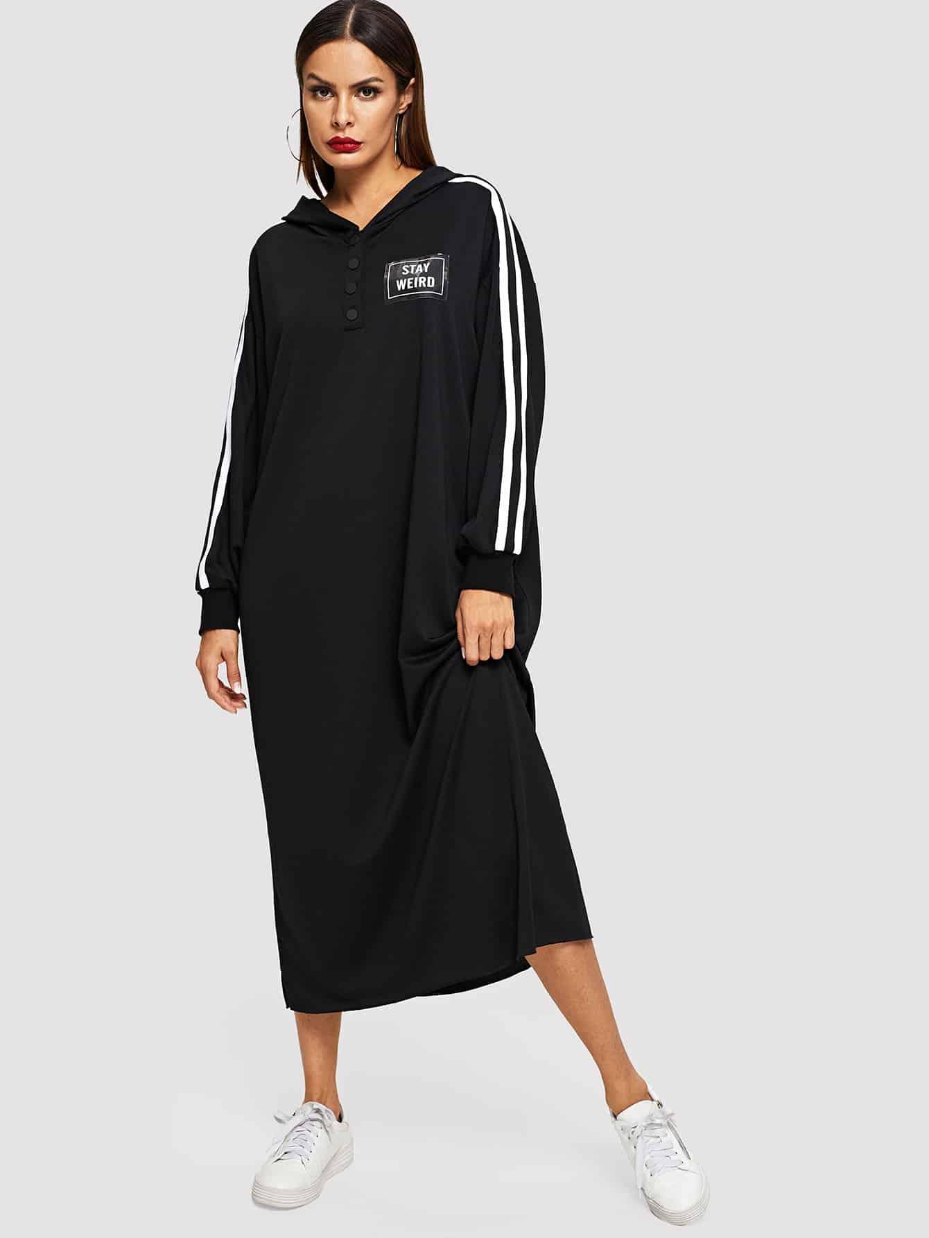 Купить Длинное платье в полоску с капюшоном и текстовым принтом, Andy, SheIn