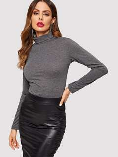 Roll Neck Heather Knit T-shirt