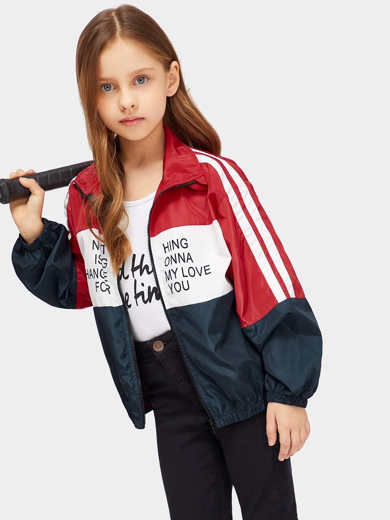Купить Контрастная куртка тедди с застёжкой молния и текстовым принтом для девочек, Anna C, SheIn