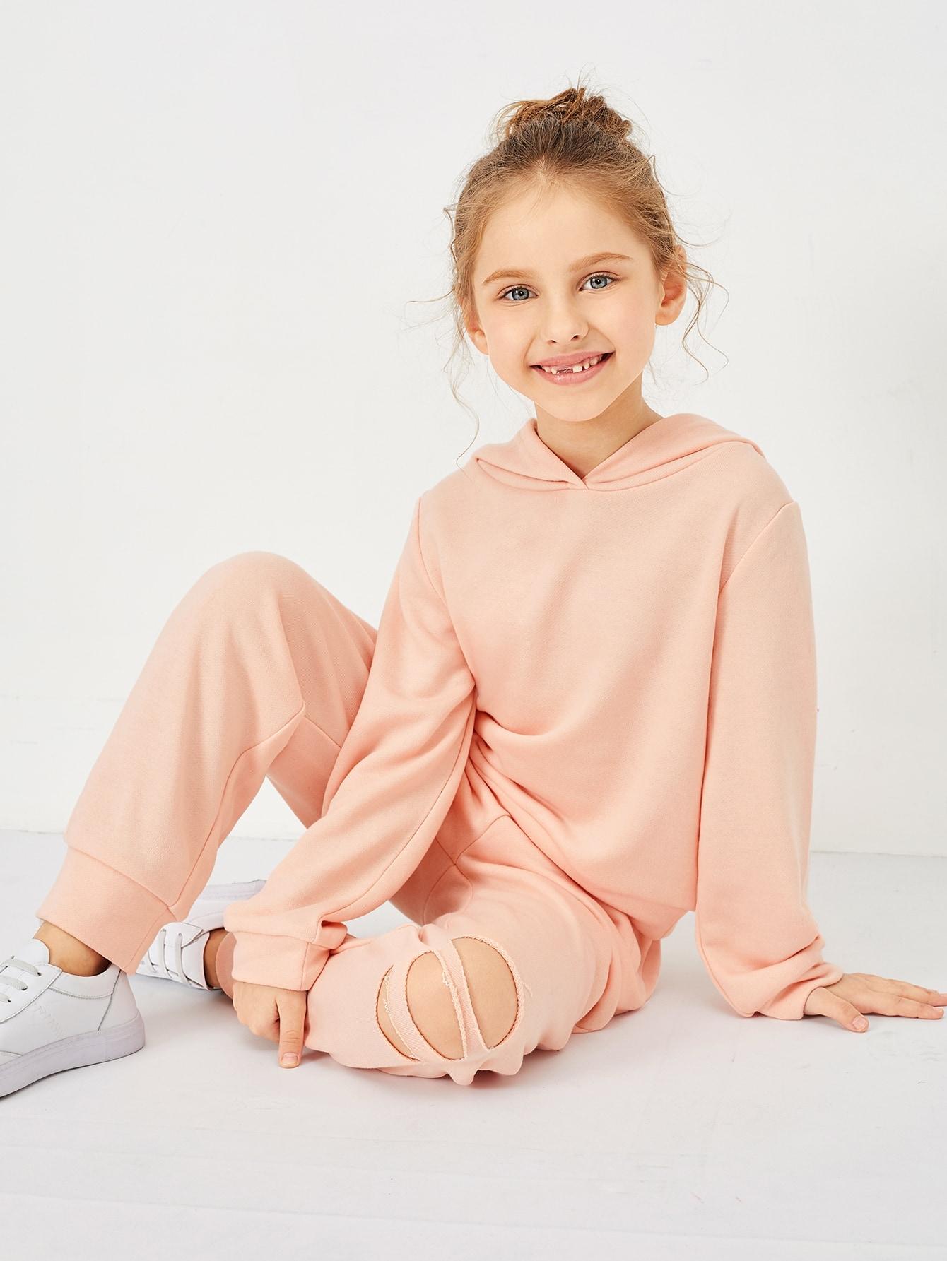 Купить Однотонная толстовка и спортивные брюки комплект для девочек, Anna C, SheIn