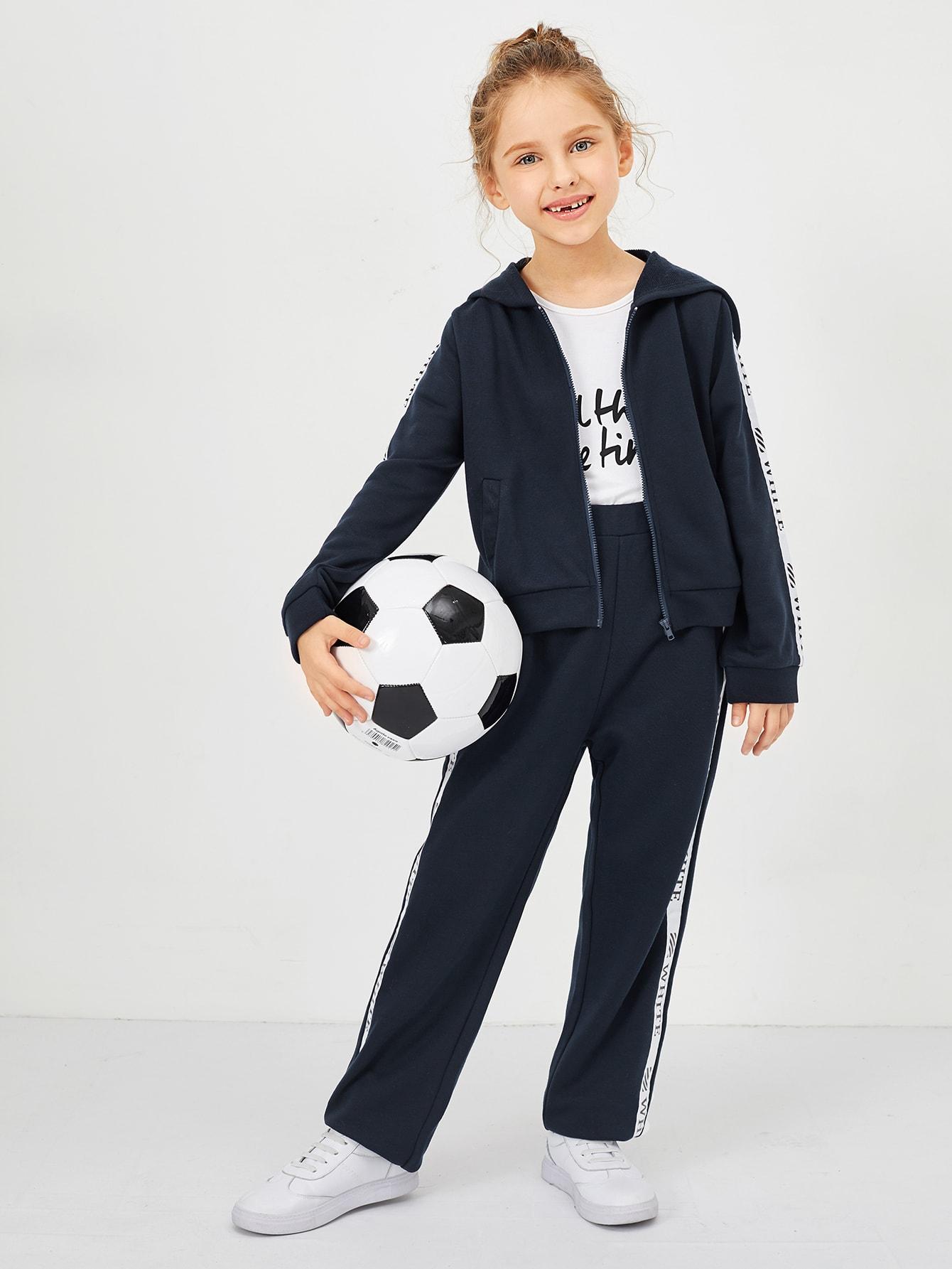 Купить Толстовка на молнии и брюки комплект для девочек, Anna C, SheIn