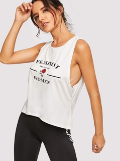 Cutout Back Low Side Graphic Tank Top