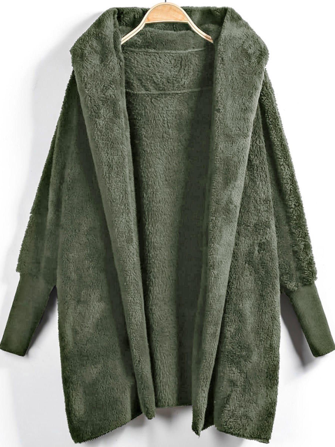 Купить Открытое пушистое пальто тедди с капюшоном, null, SheIn