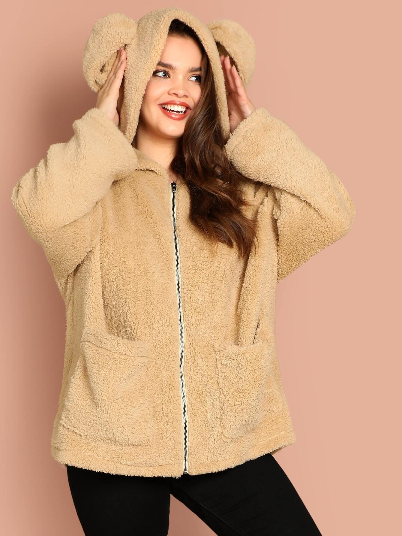 Купить Размера плюс куртка тедди с ушами и карманами, Faith Bowman, SheIn