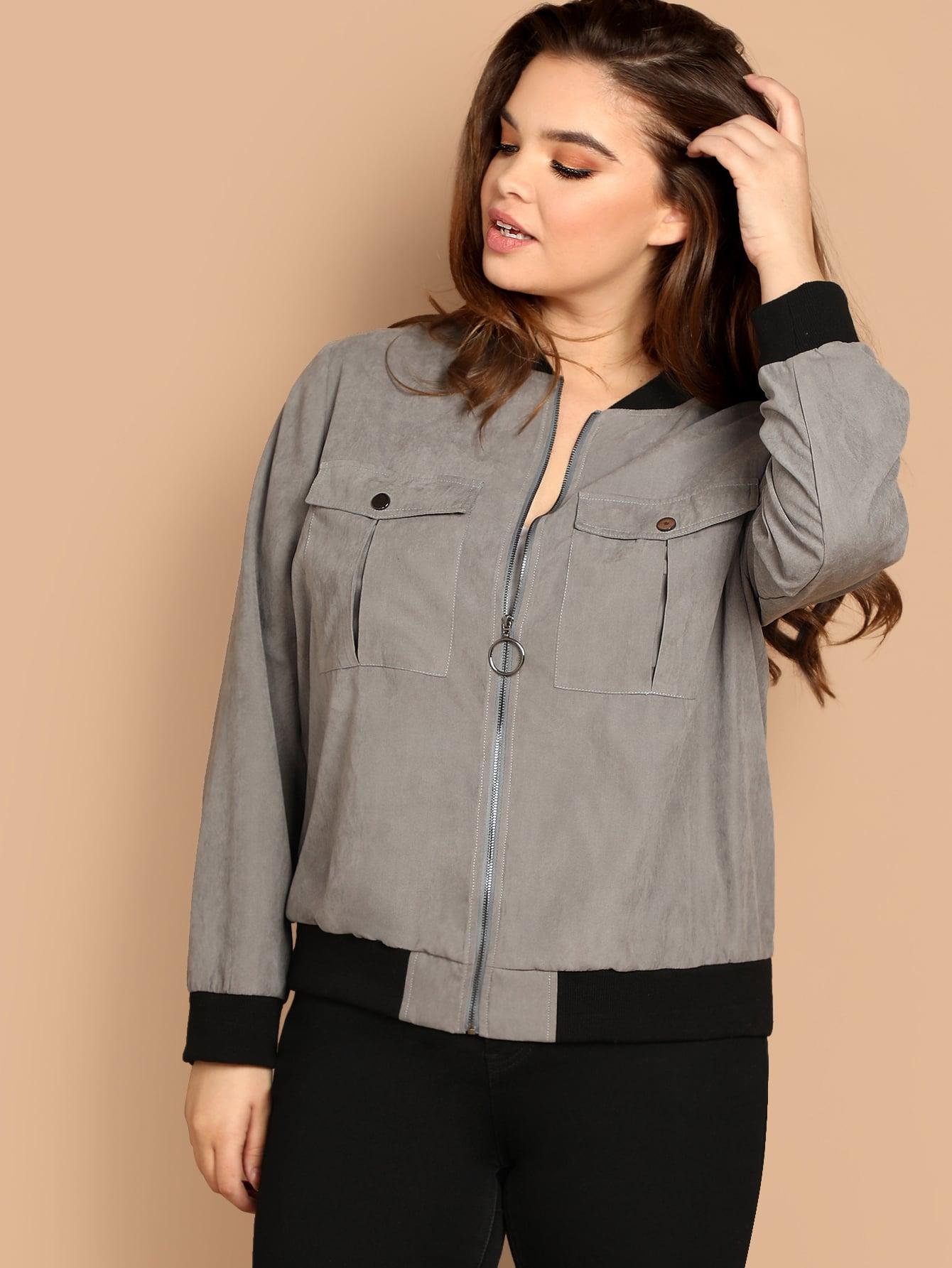 Купить Размера плюс куртка с карманами контрастной отделкой, Faith Bowman, SheIn